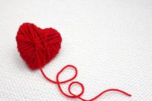 Red Yarn Ball Like A Heart On ...
