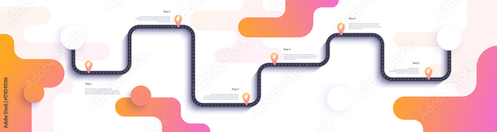 Fototapety, obrazy: Road map and journey route infographics template. Winding road timeline illustration. Flat vector illustration. Eps 10