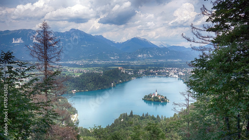 Fototapety, obrazy: Scenic view of Church on the Island Bled in the Julian Alps in Slovenia