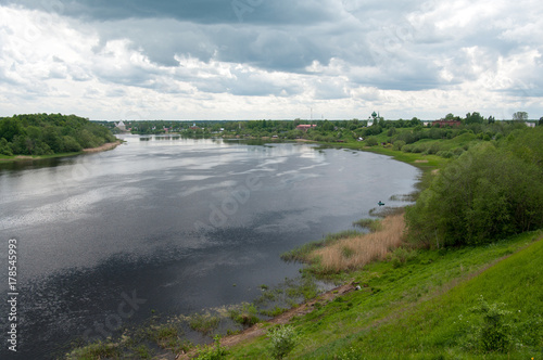 Obraz na plátně The Volkhov river and the village of Staraya Ladoga, view from the hill of proph