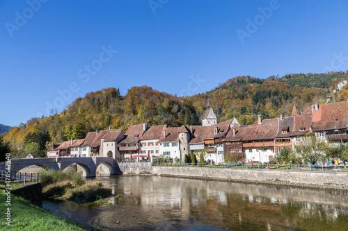 Pont sur le Doubs à St Ursanne Canvas Print