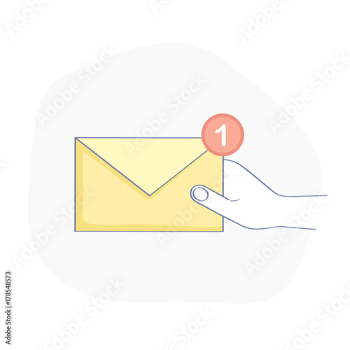 Fotografía New Message, hand holding Mail Envelope with notification