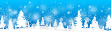 Winter Banner With Fir Trees A...