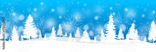 Foto auf AluDibond Blau Winter banner with fir trees and snow