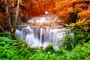 Fototapeta Popularne Beautiful waterfall in the national park forest at Huai Mae Khamin Waterfall, Kanchanaburi Thailand