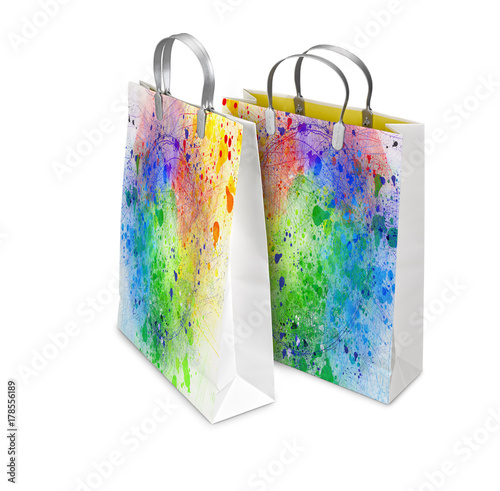 Poster  Two Shopping Bags opened and closed with color splash