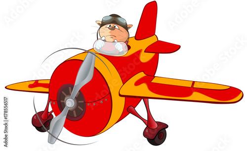 Deurstickers Babykamer Illustration of a Cute Cat Aircraft Pilot and a Plane. Cartoon Character