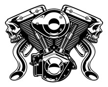 Monster Engine On White Background (raster Version)