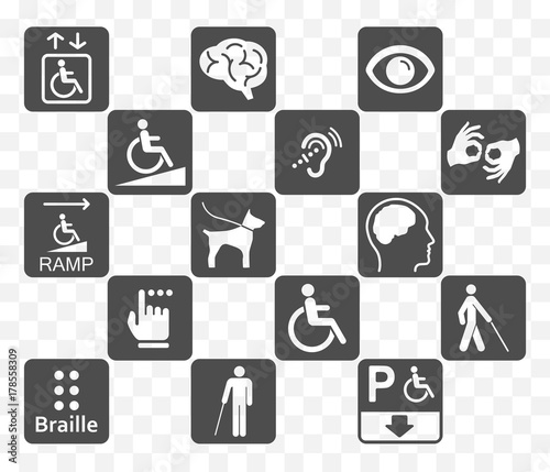 disabled icons set Wallpaper Mural