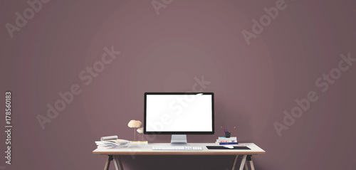 Computer Display And Office Tools On Desk Desktop Screen Isolated Modern Creative Workspace