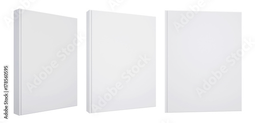 Fotografering  Realistic set of books with blank white cover
