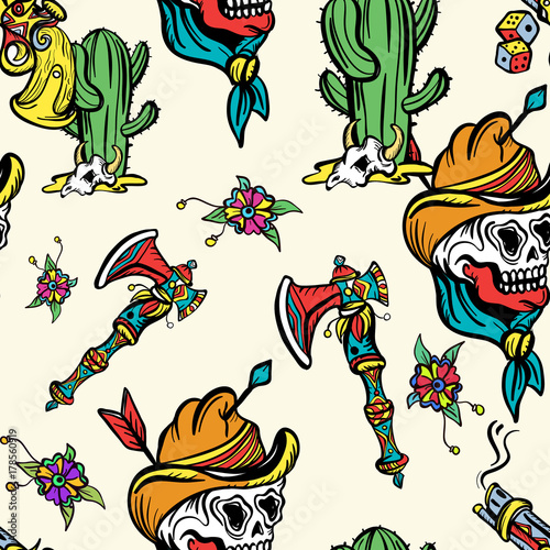 d635b8038c7a6 Wild west seamless pattern, old school tattoo vector. Fashionable western  set. Cowboy, cactus, guns, wild west background. Classic flash tattoo style,  ...