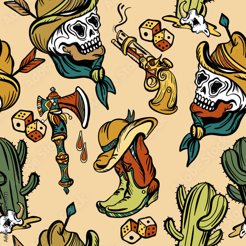 f1adc84f052a2 Wild west seamless pattern, old school tattoo vector. Fashionable western  set. Cowboy, cactus, guns, wild west background