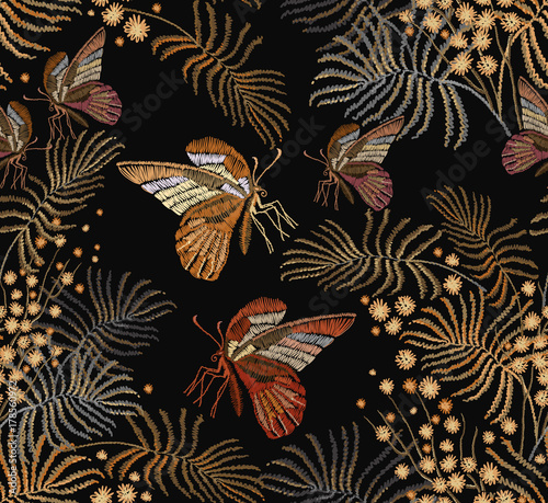 Tuinposter Vlinders Embroidery mimosa flowers and butterflies seamless pattern. Classical embroidery vintage yellow mimosa brunch and tropical butterflies. Fashion template for clothes, textiles, t-shirt design