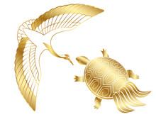 お正月素材 金色の鶴...