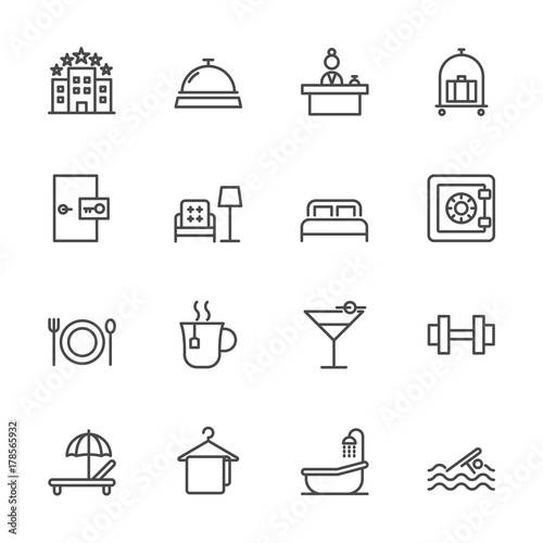 Vászonkép Hotel service, Simple thin line hotel icons set, Vector icon design