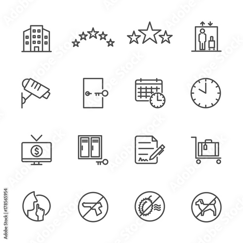 Hotel service, Simple thin line hotel icons set, Vector icon design Canvas Print