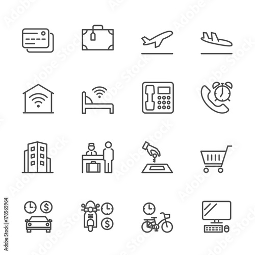 Hotel service, Simple thin line hotel icons set, Vector icon design Wallpaper Mural