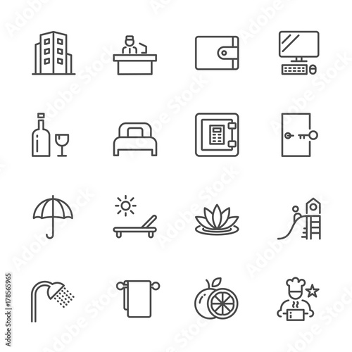 Photo  Hotel service, Simple thin line hotel icons set, Vector icon design