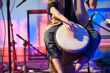 Musician Playing Djembe Drum