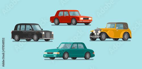 Garden Poster Cartoon cars Car, vehicle set icons. Transport, automobile, auto concept. Vector illustration
