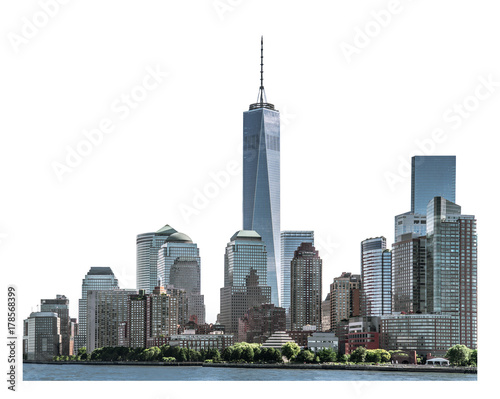 Photo  One World Trade Center, landmarks of New York City and high-rise building in Low