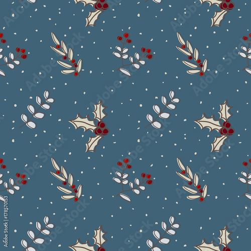 Cotton fabric Christmas seamless pattern leave, Christmas branch tree for holly jolly celebration, decorated wallpaper scrapbook wrapping paper for season greeting in brown, red and navy blue background.