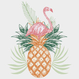flamingo on pineapple tropical print - 178572506
