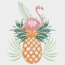 Flamingo On Pineapple Tropical Print