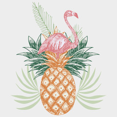 Fototapetaflamingo on pineapple tropical print