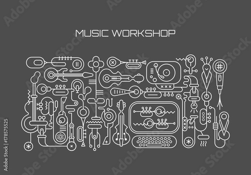 Canvas Prints Abstract Art Music Workshop vector illustration
