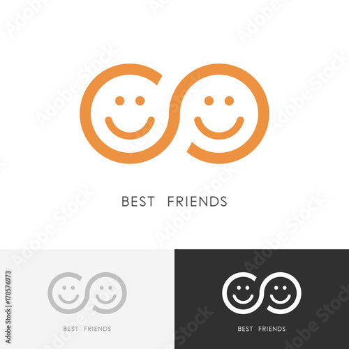 Fototapeta Best friends logo - two smiling faces and infinity symbol