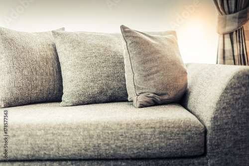 Papiers peints Retro contemporary interior of Living room with part of sofa in sunny day and white curtain interior background concept