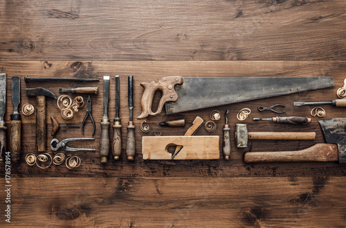 Fotomural Collection of vintage woodworking tools