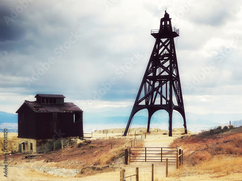 Old mining headframes in a huge copper mine, Butte, Montana, United States Canvas Print