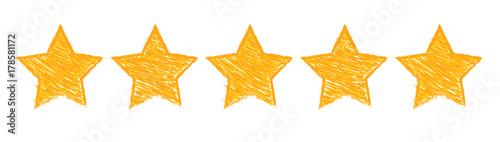 Five gold stars raking illustration