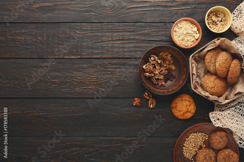 Door stickers Bread Oatmeal cookies and baking ingredients for homemade pastry background