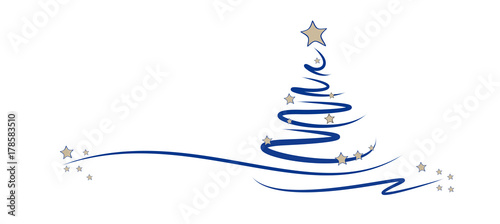 Fotomural blauer tannenbaum  mit sternen