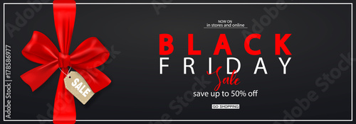 Black Friday Horizontal Banner with red bow. Vector Illustration. Modern design.Universal vector background for poster, banners, flyers, card.