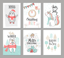 Christmas Hand Drawn Cute Cards With Penguin, Unicorn,bear, Bird, Trees And Other Elements. Vector Illustration.