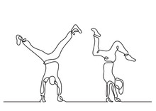 One Line Drawing Of Couple Doing Handstand