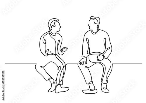 Obraz one line drawing of two sitting men talking - fototapety do salonu