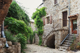 Fototapeta Na drzwi - The narrow street in the picturesque village of Lanas in the Ardèche region