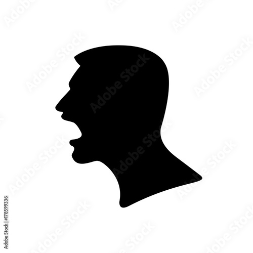 Black Silhouette Of A Screaming Man Head Close Up In Profile Evil