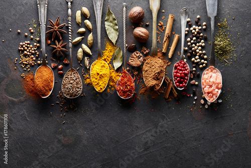 Printed kitchen splashbacks Spices Spices on a graphite board