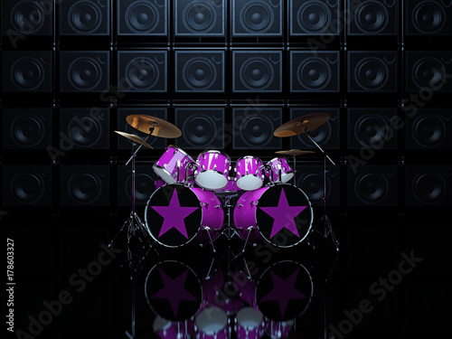 Plakat Purpurowy bęben ustawia na tło ścianie gitar amps