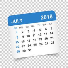 July 2018 Calendar. Calendar S...