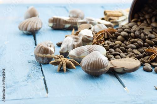 Zdjęcie XXL Ziarna kawy, belgijska czekolada i orientalne przyprawy.