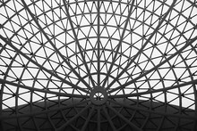 The Glass Dome Of The Building. The Design Of The Roof Is Round. Black And White Version.
