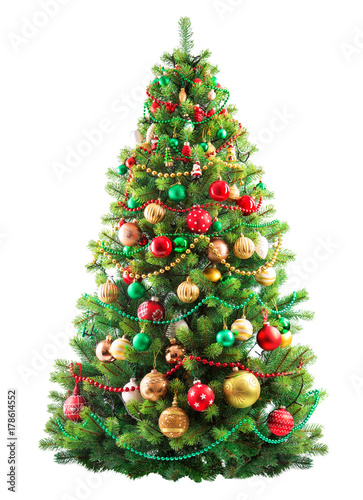 beautiful christmas tree isolated on white background. Black Bedroom Furniture Sets. Home Design Ideas